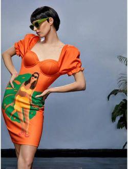 X Eva Novielli Figure Print Puff Sleeve Dress