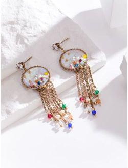Gold Plated Zircon Drop Earrings