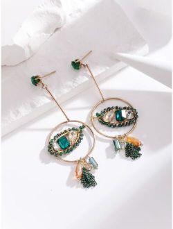 14K Gold Plated Gemstone Decor Circle Drop Earrings