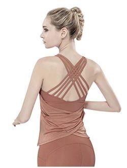 Women's Workout Yoga Tops Sportswear Clothes Activewear Built in Bra Tank Tops for Women