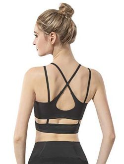 Women's Strappy Sports Bra Sexy Crisscross Bra for Yoga Running Athletic Gym Open Back Workout Fitness Tops