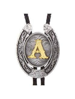 Vintage Bolo Tie for Men- Initial Letter ABCDMJR to Z Western Cowboy Bolo Tie for Women