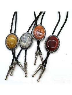 Oval agate natural stone BOLO tie men's new high-end wedding accessories Leather rope
