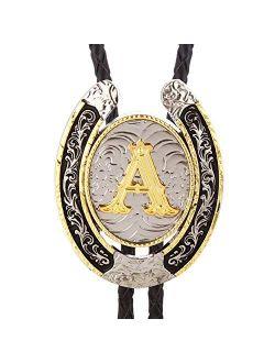 Bolo Tie for Men- Golden Initial Letter ABCDMJR to Z Western Cowboy Bolo Tie for Women