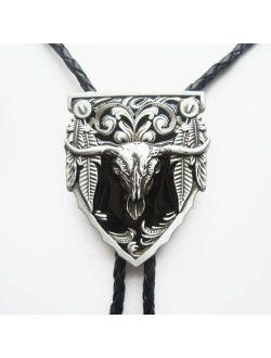 Black Enamel Long Horn Bull Western Bolo Tie Neck Tie Wedding Leather Necklace