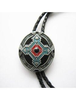 Western Southwest Cross Knot Oval Bolo Tie Wedding Leather Necklace Neck Tie