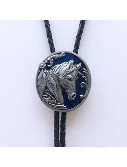 Blue Enamel Western Horse Head Oval Bolo Tie Wedding Leather Necklace Neck Tie