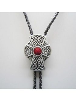 Vintage Southwest Red Knot Bolo Tie Wedding Leather Neck Tie