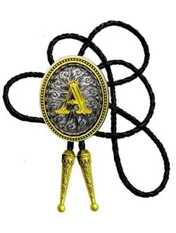 Moranse Bolo Tie Golden Initial Letter A to Z In Western Cowboy Oval Medal Style with Cowhide Rope Necktie