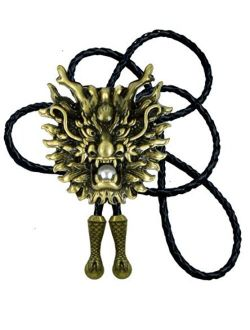 Moranse Dragon And Dragon Ball Design Cowboy Bolo Tie with Cowhide Rope