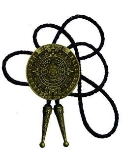 Bolo tie With Pewter Aztec Calendar Circle Design Cowboy Two Colors