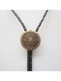 Original Antique Gold Plated Classic Aztec Calendar Sculpting Bolo Tie
