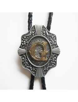 Jeansfriend Original Initial Letter G Bolo Tie Wedding Leather Necklace