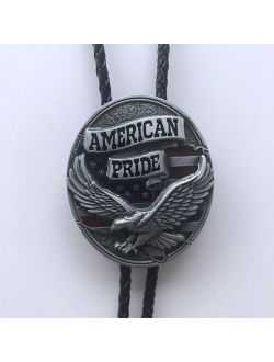 New Western Fly Eagle Flag Oval Bolo Tie Neck Tie Wedding Leather Necklace