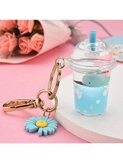Simulation Car Jewelry Gift Keychain Milk Tea Cup Bottle Keychain