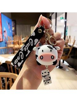 XIAOSI Cute Cartoon Car Key Charm Door Key Silicone Cow Keychains Animal Keyrings Bag Decoration(White)