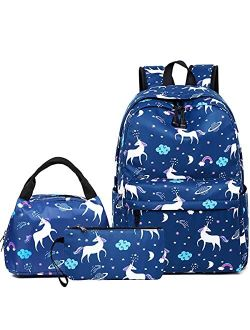 Aitok Backpack for Girls Boys, School Bag Set with Lunch Box and Pencil Case, Lightweight Travel Daypack Bookbag (Flower Black)