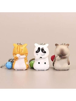 MHBY Keychain,Cute Shy Cat Keychains Chubby Kitten Keyring Trinket Bag Ornament Keys Organizer Fashion Animal Jewelry Women AccessoriesKey Chains