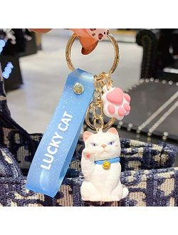 ZEXIN New Cute Lucky Cat Keychains Car Key Accessories Bag Decoration Keyrings Cartoon Lovely Cat Keychains Pendant(White)