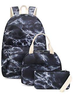BLUBOON School Backpack Teens Girls Boys Kids School Bags Bookbag with Lunch bag pencil pouch (Tie Dye Green Pink)