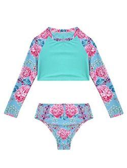 renvena Girls Flower Tankini Sets Rash Guard Crop Top with Bikini Briefs Swimwear Bathing Suit Beachwear