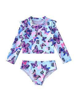 Haitryli Kids Girls 2 Pieces Rash Guard Sets Swimsuit Long Sleeve Swim Tops Bottom Tankini Bathing Suit