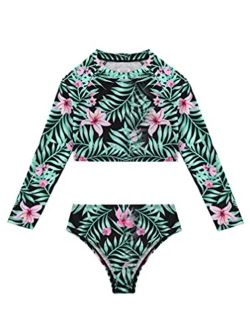 zdhoor Kids Girls Rush Guard Long Sleeve Crop Top Shirt Bottom Swimsuit 2 Piece Bathing Suit Swimwear