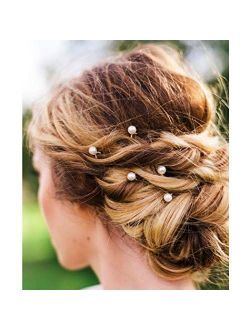 Barode Wedding Hair Pins Bridal Pearl Hairchain Fashion Hair Accessories for Women and Girls (Pack of 10) (Silver)
