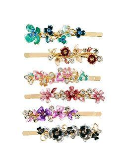 QIUTIMIY 6 Pcs Hair Pins Vintage Decorative Flower Design Metal Gold Tone Hair Clip Slides Accessories Women Girls(Flower1)