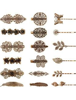 18 Pieces Vintage Metal French Barrette Retro Bronze French Clip Bronze Leaf Bobby Pin Vintage Hair Clips Hair Accessories for Women Girls
