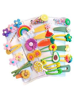 Baby Girl's Hair Clips Cute Hair Accessories Colorful Rainbow Flower Fruit Dessert Patterns Barrettes For Baby Girls Teens Toddlers, Assorted styles, 24pcs pieces Pack (S