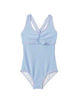 Lands' End Seersucker One-piece Swimsuit