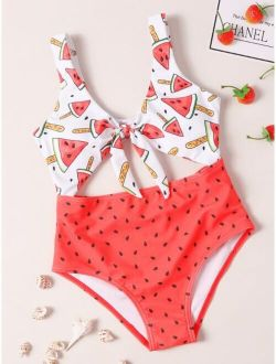 Girls Watermelon Print Cut-out Knot One Piece Swimsuit