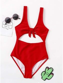 BASICS Girls Cut-out Knot One Piece Swimsuit