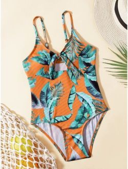 Girls Plant Print Knot Front One Piece Swimsuit