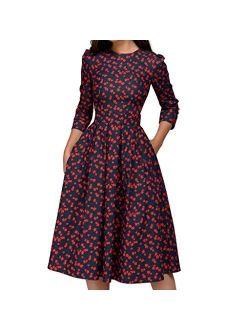 Fonma Women's Dress Elegant Midi Evening Dress 3/4 Sleeves