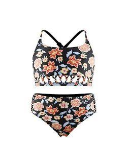 Islander Girls Black Bikini Sets 2 Piece Swimsuit,Kids Beach Sport Tankini with Criss Cross Back Straps