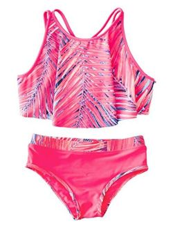AS ROSE RICH Girls Bathing Suits 2T-6X - 2 Piece Swimsuits for Toddler Little Girls - Summer Beach Sports Swimsuits