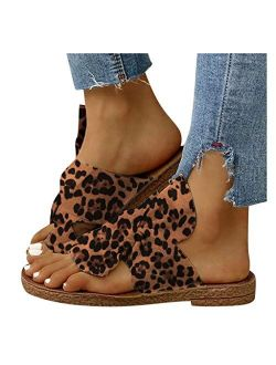 Xudanell Womens Sandals Comfort Cork Sole Bow Knot Comfy Soft Leopard Suede Casual Summer Slip On Slides Sandals for Women