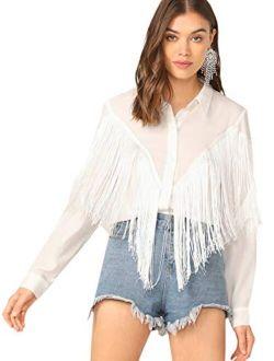 Women's Fringe Trim Long Sleeve Button Up Blouse Shirt Top