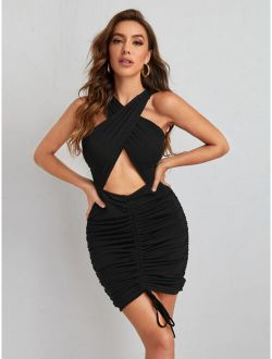 Cut Out Front Lace Up Bodycon Dress