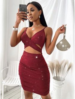 Criss Cross Ruched Bodycon Dress