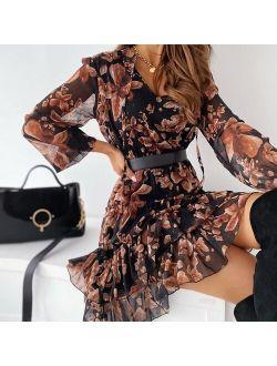 Fashion Women Elegant A-Line Party  Ladies V Neck Floral Dress Spring Flower Print Long Sleeve Lace-Up Ruffle Dress Chiffon