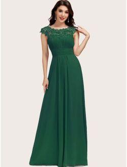 Cut Out Back Guipure Lace Trim Chiffon Prom Dress