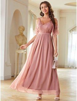 Contrast Lace Cold Shoulder Prom Dress