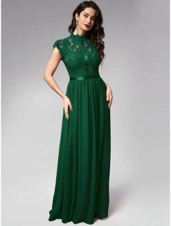 MIUSOL Ribbon Detail Lace Bodice Chiffon Prom Dress