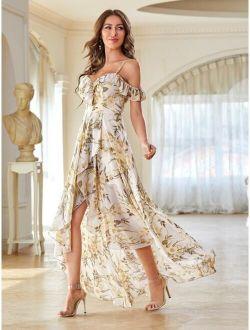 Cold Shoulder High Low Hem Allover Floral Dress