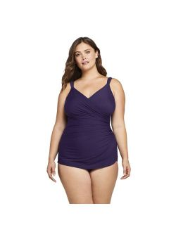Lands' End Slendersuit Skirted One-piece Swimsuit