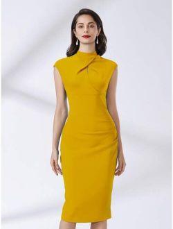 MIUSOL Mock Neck Cut Out Split Hem Dress