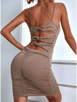Cut Out Back Ruched Bodycon Dress